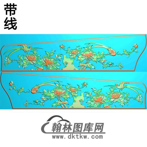 牡丹花鸟侧板精雕图(GC-073)