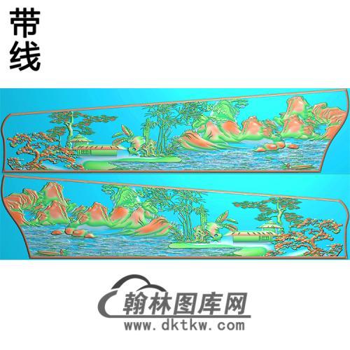 山水棺材侧板精雕图(GC-079)