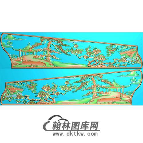 山水棺材侧板精雕图(GC-080)