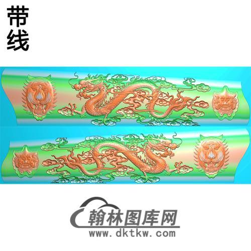双龙棺材侧板+弧有线精雕图(GC-084)