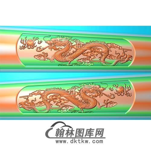 双龙棺材侧板精雕图(GC-085)