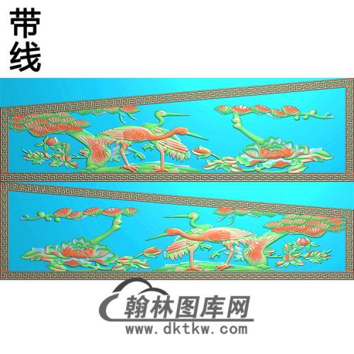 松树仙鹤 2侧板精雕图(GC-089)