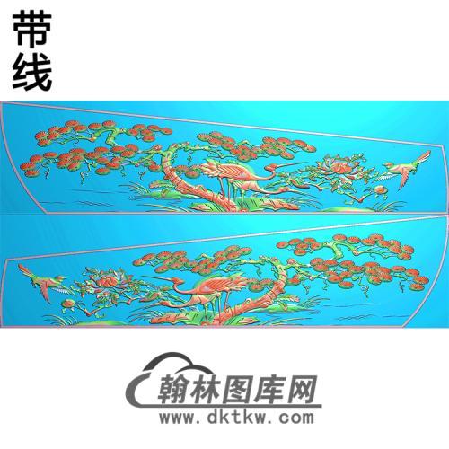 松树仙鹤侧板精雕图(GC-091)