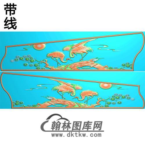 松树仙鹤棺材侧板3精雕图(GC-092)