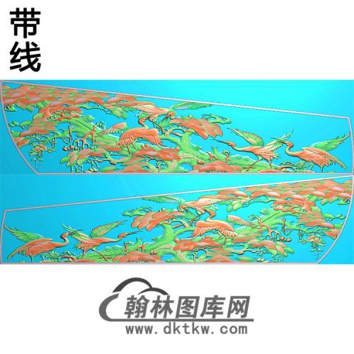 松树仙鹤棺材侧板精雕图(GC-093)