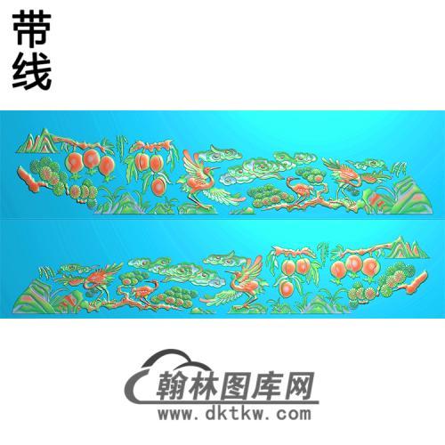 仙鹤棺材侧板 精雕图(GC-099)