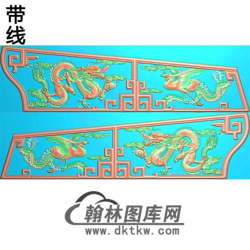 龙凤棺材侧板精雕图(GC-108)