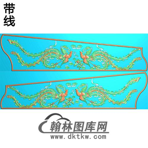双凤棺材侧板精雕图(GC-109)