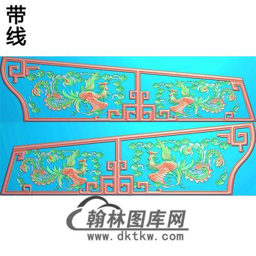 双凤棺材侧板精雕图(GC-120)