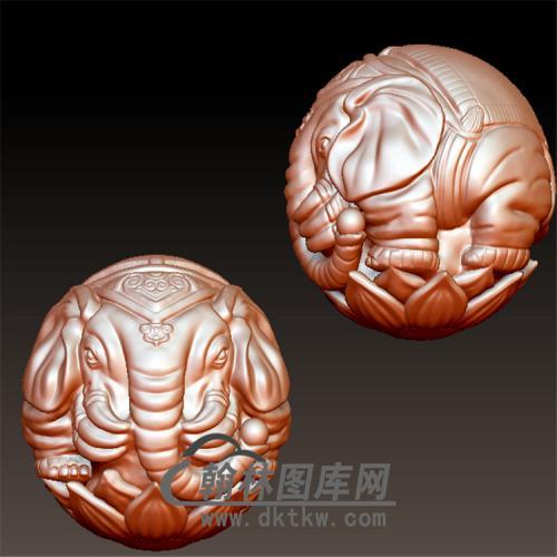 六牙象珠立体圆雕图(YBF-002)