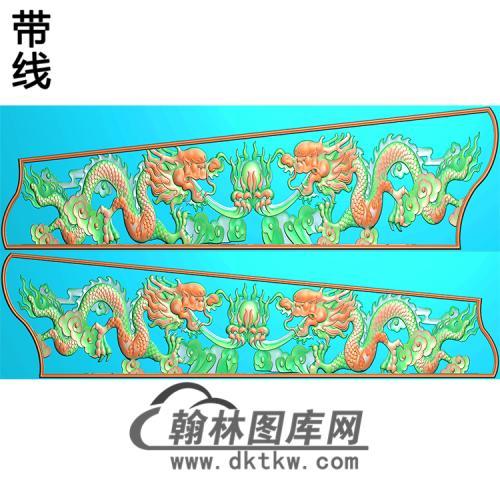 双龙侧板棺材板精雕图(GC-122)