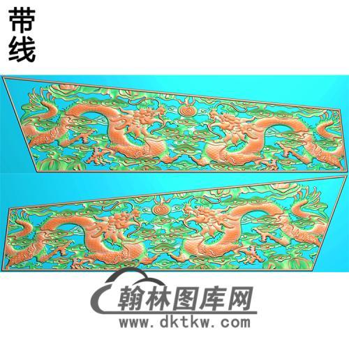 双龙棺材侧板精雕图(GC-123)