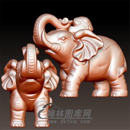 可爱的小象雕塑立体圆雕图(YBF-003)