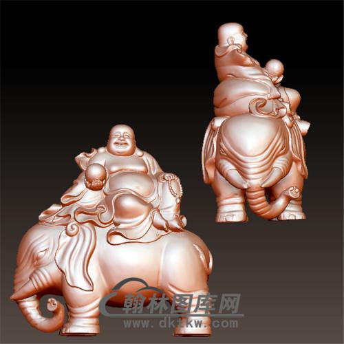 骑象弥勒佛立体圆雕图(YBF-006)