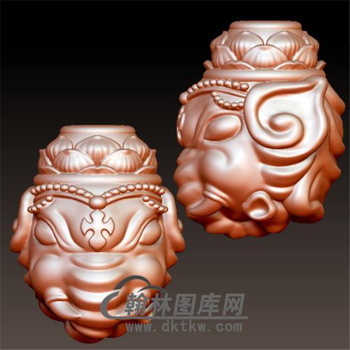 象神三通立体圆雕图(YBF-010)