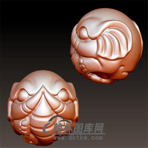大象象神珠子立体圆雕图(YBF-012)