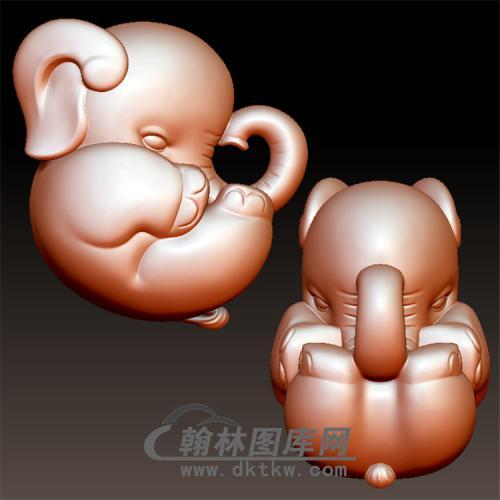 卡通小象立体圆雕图(YBF-013)