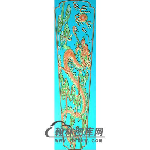 单龙棺材顶盖精雕图(GC-013)