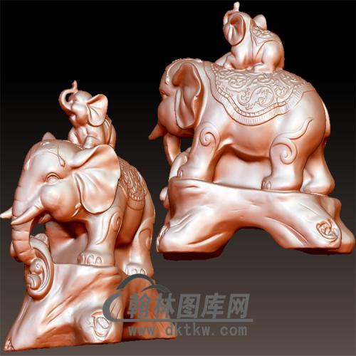 背小象的象立体圆雕图(YBF-015)