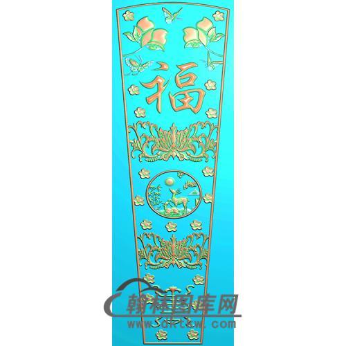 福禄寿棺材顶盖精雕图(GC-017)