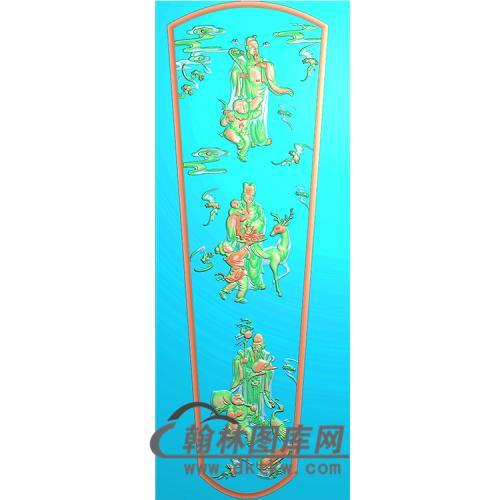 福禄寿棺材顶盖精雕图(GC-031)