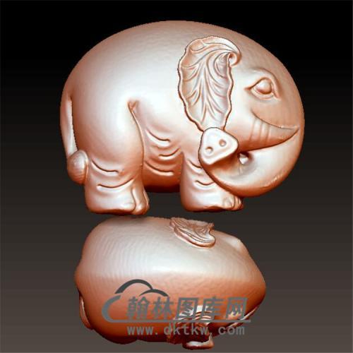 可爱大象手把件立体圆雕图(YBF-019)