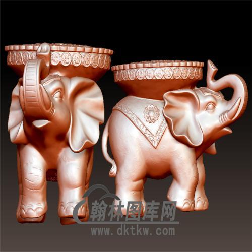 大象带福盘立体圆雕图(YBF-023)