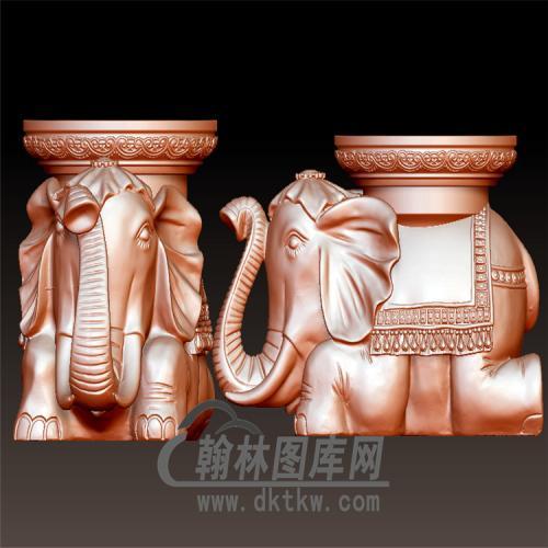 大象莲花座立体圆雕图(YBF-024)