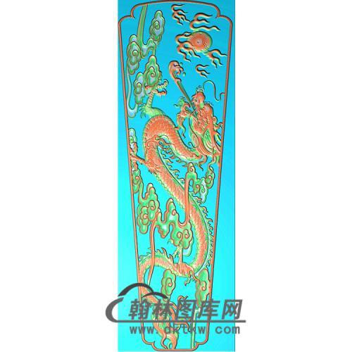 单龙棺材1700-350-35棺材盖精雕图(GC-044)