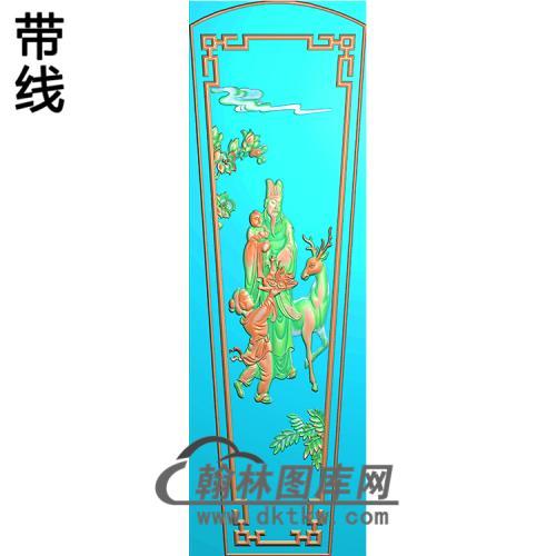 福禄寿棺材盖精雕图(GC-049)