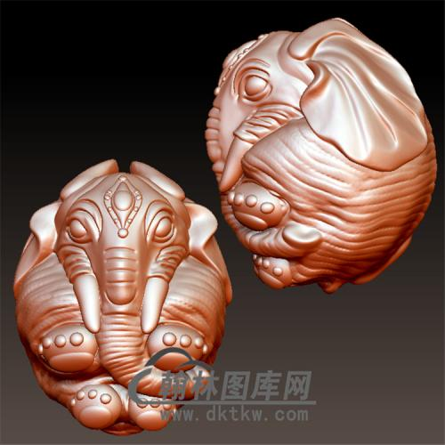 大象象珠立体圆雕图(YBF-026)