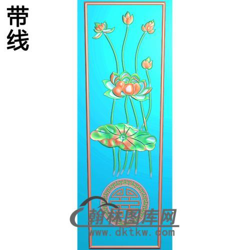 棺材荷花棺材盖274X750X5精雕图(GC-059)