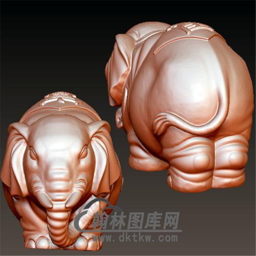象手把件立体圆雕图(YBF-029)
