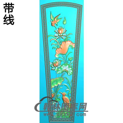 荷花鸟棺材盖精雕图(GC-061)