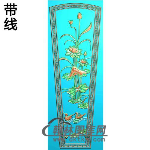 荷花鸳鸯棺盖精雕图(GC-063)