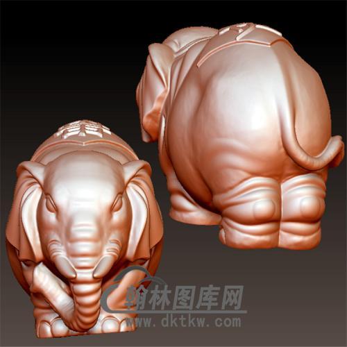 象手把件立体圆雕图(YBF-030)