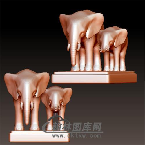 两只大象立体圆雕图(YBF-032)