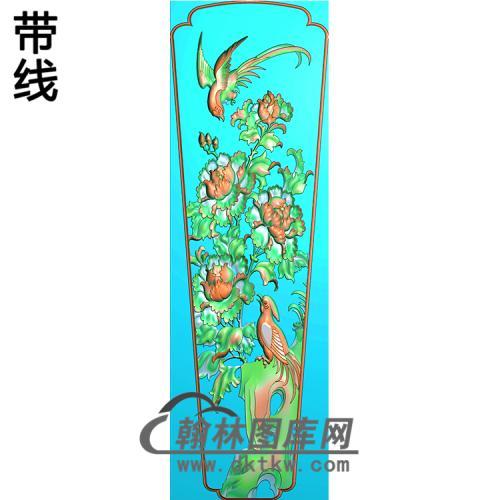 牡丹花鸟棺材盖 精雕图(GC-074)