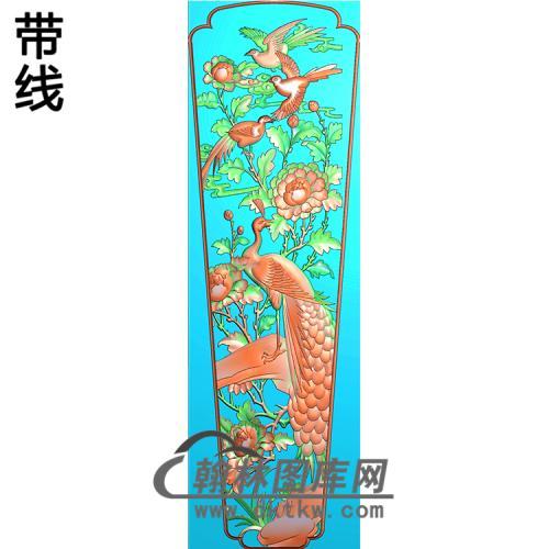 牡丹花鸟棺材盖精雕图(GC-075)