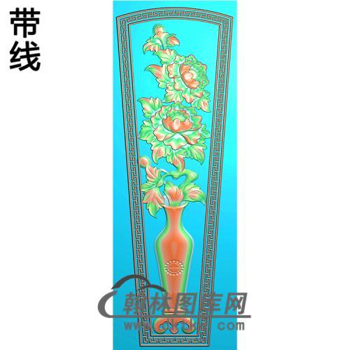 牡丹花瓶棺材盖精雕图(GC-076)