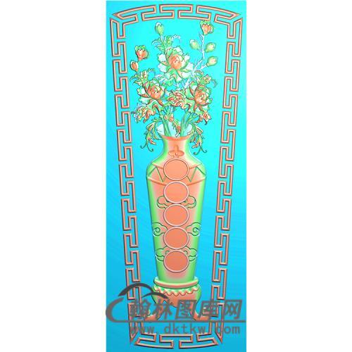 牡丹花瓶棺材盖精雕图(GC-077)