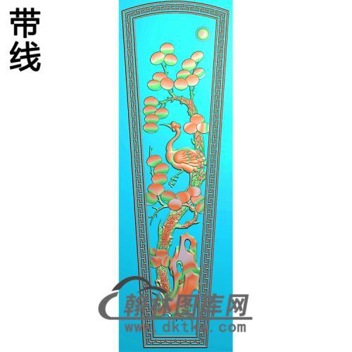 松鹤棺材盖 精雕图(GC-087)