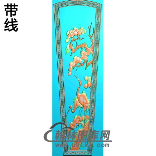 松树仙鹤 盖板精雕图(GC-090)
