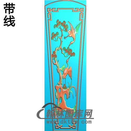 松树仙鹤棺材盖精雕图(GC-094)