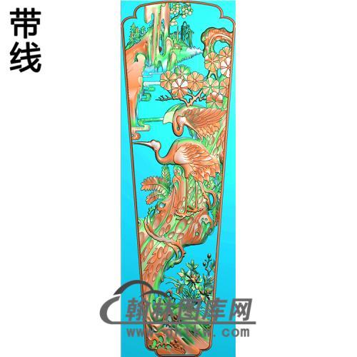 松树仙鹤棺材盖精雕图(GC-095)