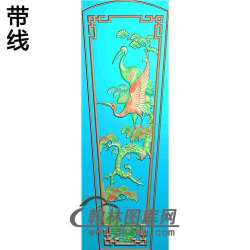松树仙鹤盖精雕图(GC-096)