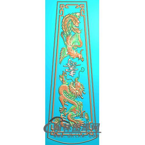 龙凤棺材顶盖1精雕图(GC-104)