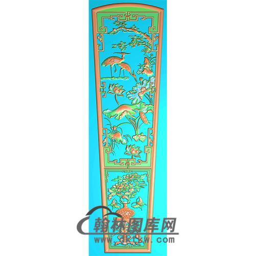 荷花仙鹤棺材顶盖精雕图(GC-106)
