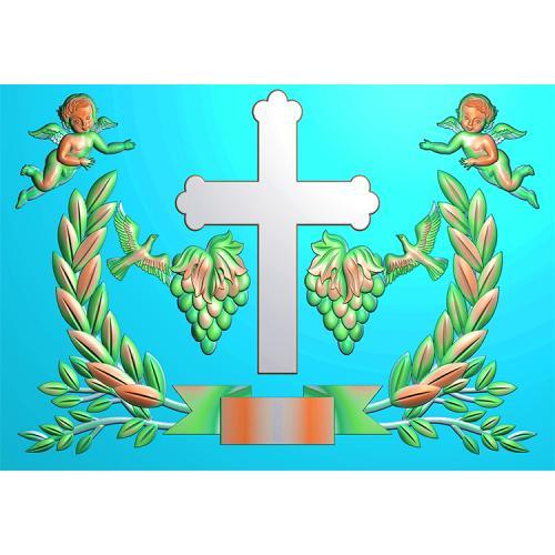 十字架棺材前档堵头精雕图(GC-101)