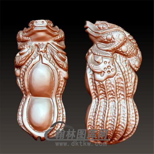 花生蟾蜍手把件立体圆雕图(YJC-018)